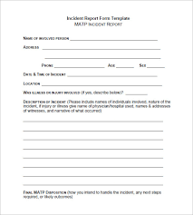 Free Printable Incident Reports