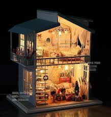 3d diy led light dollhouse miniature sweet thought wish deluxe model kit