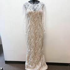 NWT Carmen Marc Valvo Ivory Long Lace Dress Size 4 | eBay