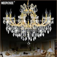 maria theresa res gold glass pendentes lights 13 lamps incandescent luminaire chandelier chrystal lighting fixture living md8477 l13