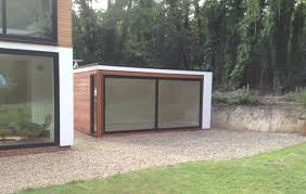 garden office pods. box with extra large sliding doors and render garden office pods