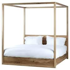 White Wood Canopy Bed Queen Four Poster Frame Beds Coastal Rustic ...