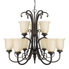 beverly 9 light chandelier dark bronze finish amber glass shades
