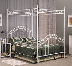 Amazon.com: Full Size White Floral Metal Canopy Bed Headboard and ...