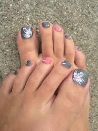 Toe Nail Colors And Designs Grey Pink Toe Nails Flower Design Healthy Beauty Full
