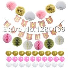 Tissue Balls Party Decorations Pink White Gold Happy Birthday Decorations Banner Tissue Paper Pom 96