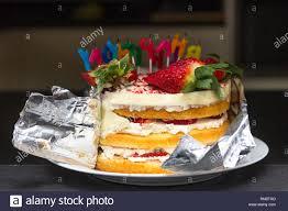 Birthday Cake Revealing Layers Home Made Strawberry And Cream
