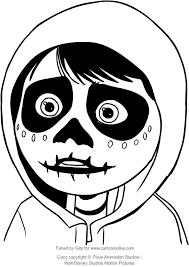 Disegno Di Miguel Con Maschera Da Scheletro Coco Il Film Da Colorare