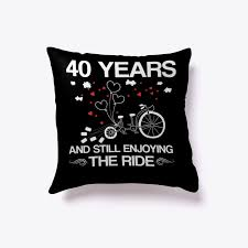 details about riding bicycles 40th wedding anniversary gift pillow