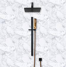cara square shower head 250mm matte black