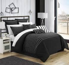 chic home 13 piece bon super rich microfiber stitch embroidered queen comforter set black with sheet set