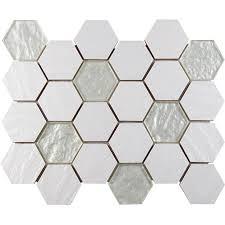 rs3018 hexagonal pure white ceramic mix glass mosaic