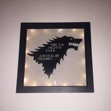 Vinyl Light Box Game Of Thrones Got Direwolf Vinyl Deep Frame Light Box