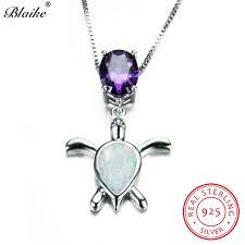 2019 blaike white fire opal turtle pendants necklaces for women 925 sterling silver oval purple zircon amethyst choker animal jewelry from bojiban