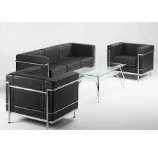 black and chrome furniture. Leather Reception Sofa In Black Or White | And Chrome With Frame Furniture Barkham Office