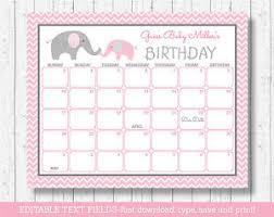 Pink Chevron Elephant Printable Baby Due Date Calendar Editable Pdf