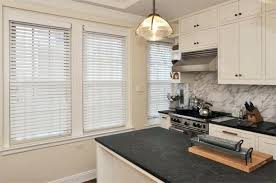 Custom Wood Blinds White 2 Inch In A Kitchen On Street Faux Home Depot