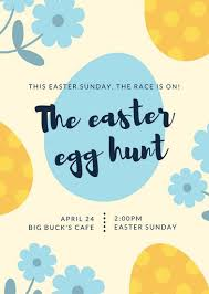 Yellow Blue Illustrated Easter Egg Hunt Easter Flyer Templates By