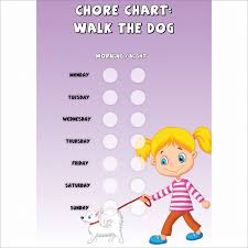 Dog Walking Chart Girls Chore Chart Walk The Dog