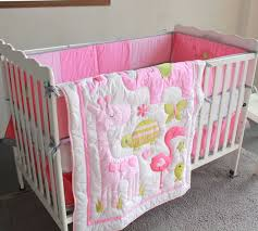 W Pink Flamingo Elephant Animals 4pc Baby Girl Crib Bedding Set Cot  Applique Quilt Bumpers Sheet