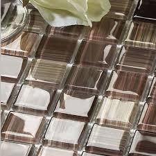 crystal glass tile backsplash kitchen ideas hand painted brown mosaic wall tiles bathroom stickers