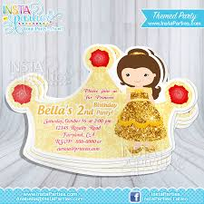 Birthday Invitation Party Belle Princess Invitations Crown Princess Cut Out Birthday
