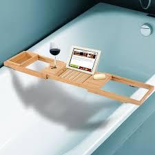 homcom bath tub bathroom tray bathtub caddy shelf wine holder book rack stand