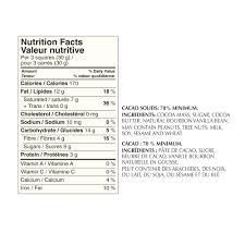 Culver S Nutrition Information Chart 70 Cocoa Dark Chocolate Nutrition Facts