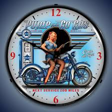 go motorcycle wall clock led lighted