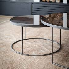 stylish round mirror coffee table with notre monde heavy aged mirror coffee table set round amara