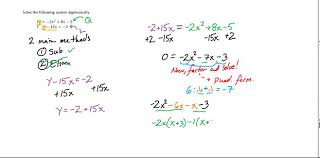 alg ii solving linear quadratic systems algebraically simple