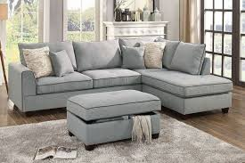 sofa with ottoman chaise. Interesting With Poundex F6543 Light Grey Fabric 3PC Reversible Chaise Sectional Sofa Ottoman  Set Throughout With R