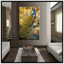 peacock large vertical wall art