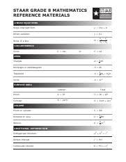 Math Formula Chart For Geometry Formula Chart Pdf Staar Staar Geometry Reference Materials