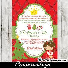 Christmas Tea Party Invitations Princess Tea Party Christmas Birthday Invitation Red Green Glitter D4
