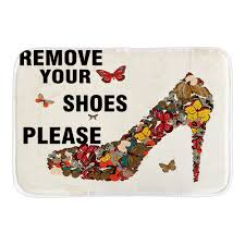 Doormat please remove shoes doormat images : Remove Your Shoes Please Doormat Cartoon Butterfly High Heel Decor ...