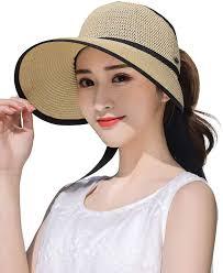 Ladies Designer Sun Visors Womens Lightweight Summer Foldable Cotton Sun Visor W Breathable Mesh