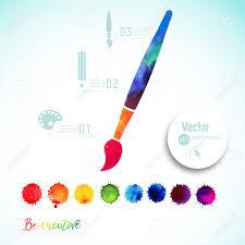 Vecteur De La Peinture Brosse Silhouette Fait De Laquarelle Icônes Créatives Aquarelle Concept Créatif Créativité Et Tirage Caractères