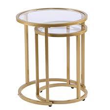 Nesting furniture Condo Balcony Image Unavailable Amazoncom Amazoncom Furniture Hotspot Gold Nesting End Tables Round