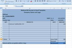 Sample Medical Bill Format In Word Medical Bill Format In Excel Template Xls Templates