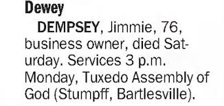 Obituary for Dewey Jimmie DEMPSEY (Aged 76) - Newspapers.com