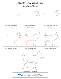 puppy drawing step by step. Unique Step How To Draw A Wolf Pup  StepbyStep Tutorial And Puppy Drawing Step By R