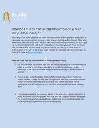 Confirm the details and make payment. How Do I Check The Authentication Of A Bike Insurance Policy By Insurance Samadhan Issuu