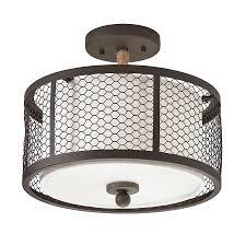 kichler 12 99 in w olde bronze fabric semi flush mount light