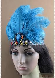indian blue feather headband headpieces headdress headgear hula paryt carnival