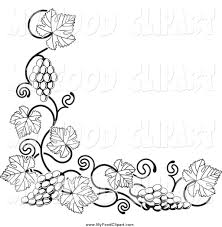 grapes clipart black and white. food clip art of a black and white grape vine corner border grapes clipart