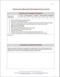 Restaurant Manager Review Forms Restaurant Manager Performance Evaluation Form Eval Performance