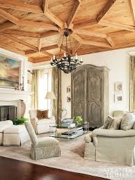 coffered and patterned wooden ceiling