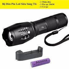 Đèn pin siêu sáng 5 chế độ chiếu xa trăm mét T6 - Bộ sản phẩm gồm 1 đèn pin  led mini cầm tay 1 pin sạc 1 bộ sạc 1 dụng