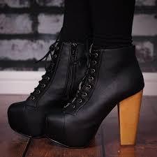 ashley lace up wooden block heel concealed platform ankle boots black pu